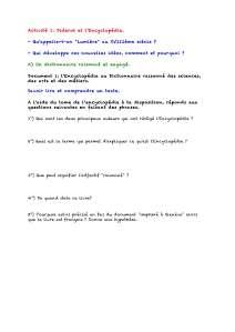 Pages de L'encyclopédie