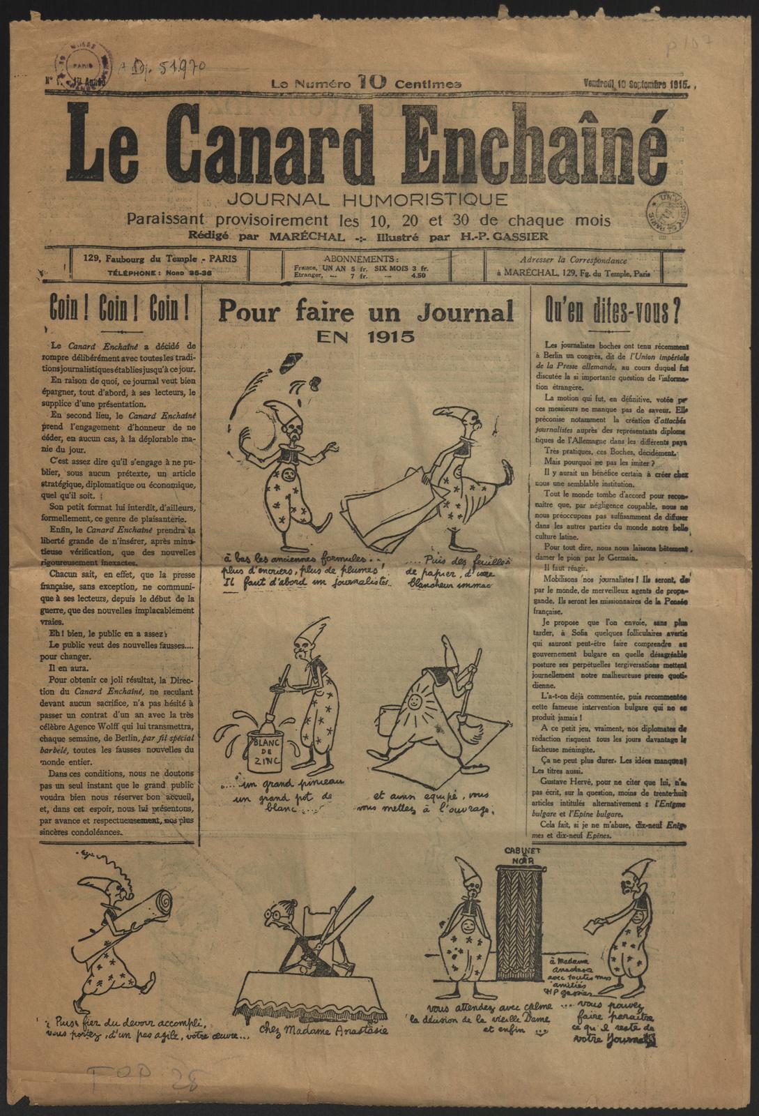 10 septembre 1915 naissance du journal le canard encha n blog histoire g o - Bassin canard mauritius saint paul ...