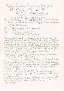 sujet bac math 1931