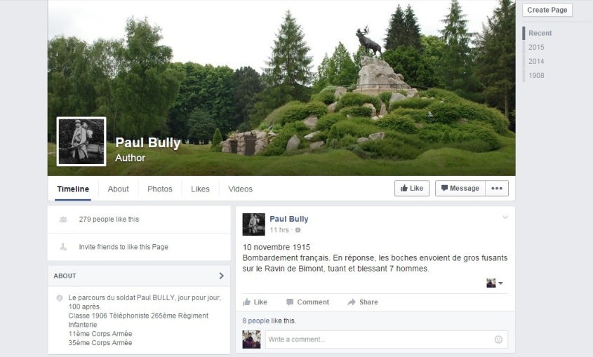 Capture écran de la page Facebook de Paul Bully