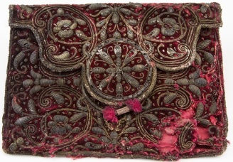 Red-velvet-pouch-embroidered-with-silver-thread