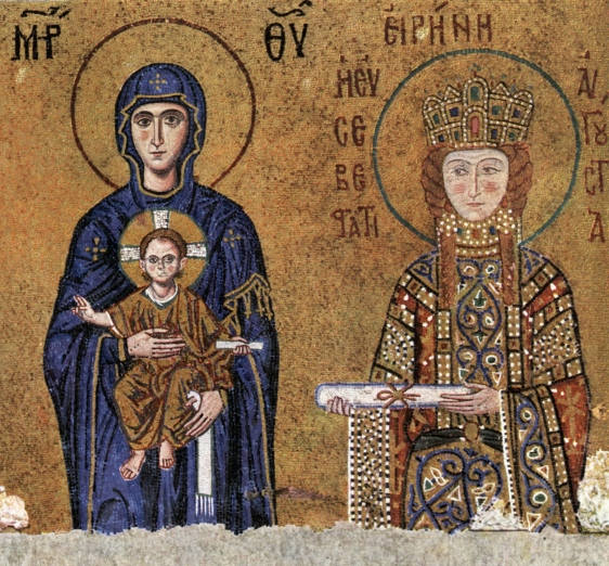 Mosaïque représentant l'impératrice Irène dans la basilique Sainte Sophie, XIIe siècle