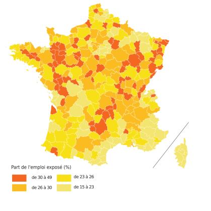 Part de l'emploi exposé dans l'emploi total, par zone en 2012. Source : Insee, recensement de la population 2012.