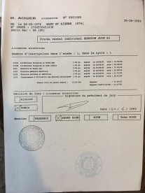 Relevé de notes de la licence d'histoire