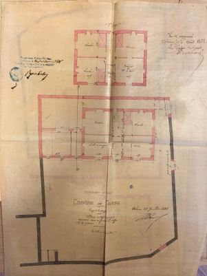 Le plan du presbytère de Tavers par l'architecte Ricard