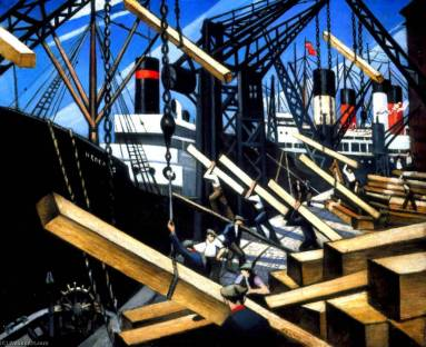 Christopher-Richard-Wynne-Nevinson-Loading-Timber-at-Southampton-Docks