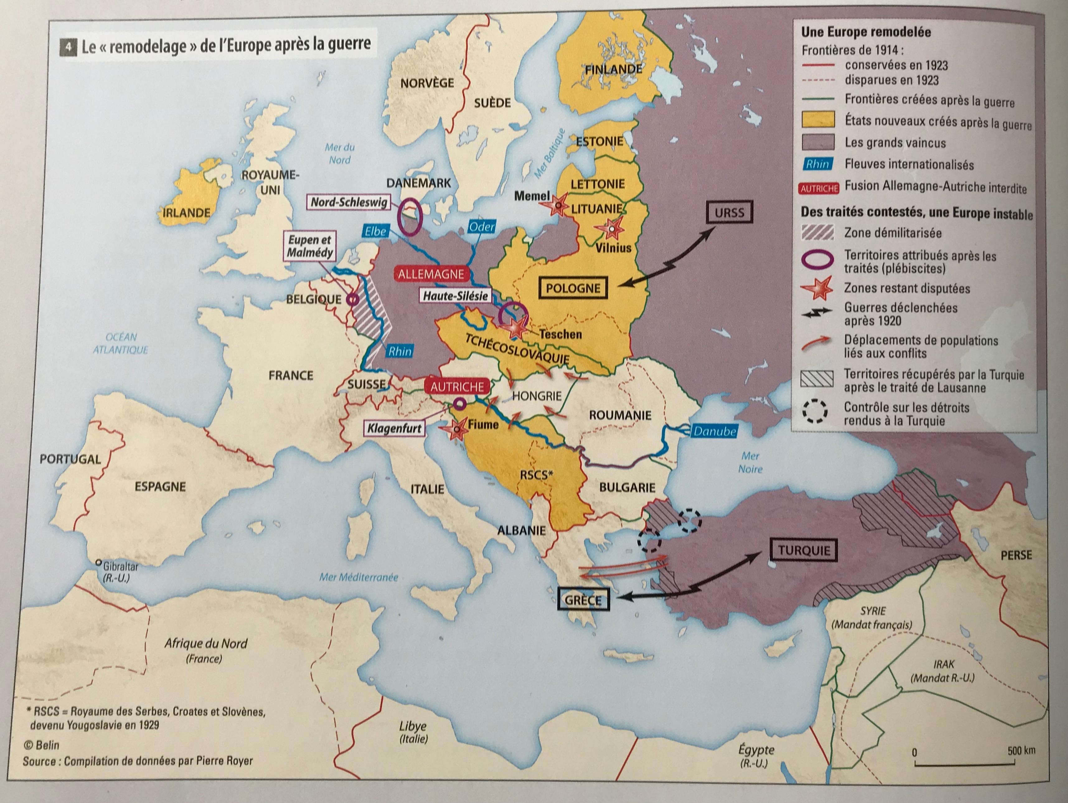 Carte De Leurope Apres La Premiere Guerre Mondiale.Blog Histoire Geo Page 181 D Un Cote Alexandre Dumas