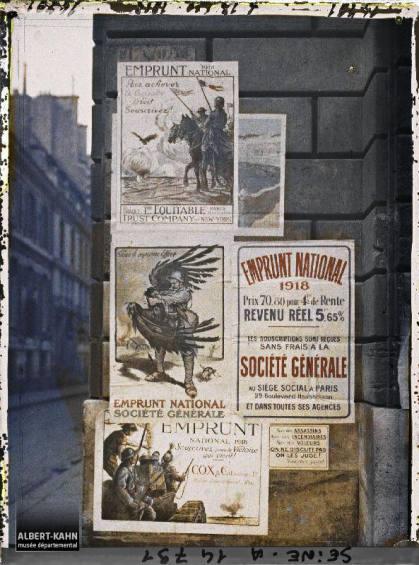 Groupe d'affiches de l'emprunt national, Paris, France. 18 octobre 1918