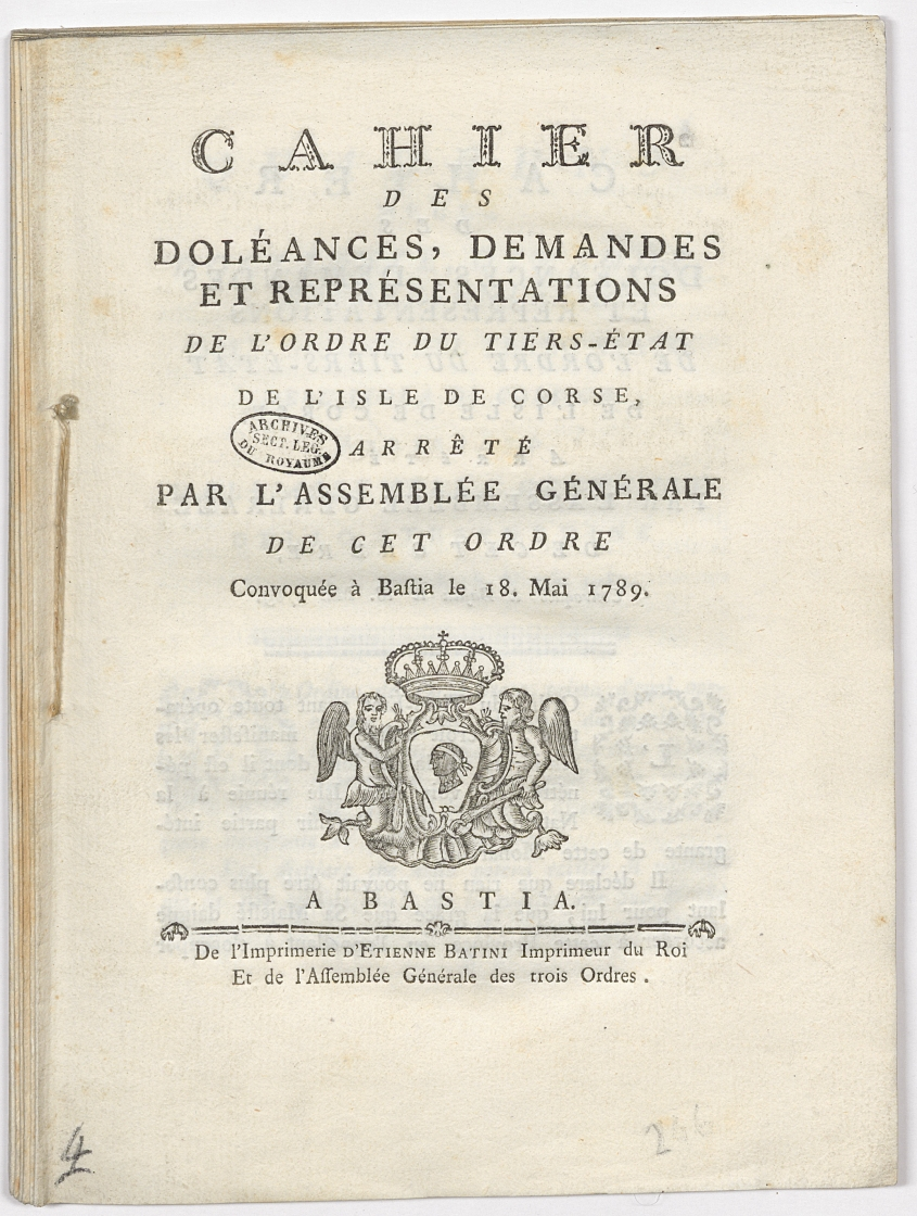 Cahier des doléances, demandes et représentations de l'ordre