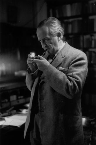 2nd December 1955: Taking a relaxing smoke, Fellow of Merton College, Oxford, Professor J R R Tolkien (John Ronald Reuel Tolkien) (1892 - 1973) . Philologist and author of 'The Hobbit' and its sequel 'The Lord of the Rings'. Original Publication: Picture Post - 8464 - Professor J R R Tolkien - unpub. (Photo by Haywood Magee/Picture Post/Getty Images)