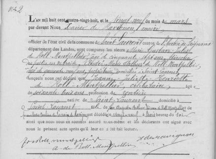 L'acte de décès de Jeanne Juliette Henriettede Roll - Montpellier