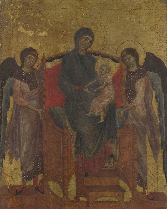 Cimabue, documented 1272; died 1302 The Virgin and Child with Two Angels about 1280-5 Egg tempera on wood, 25.6 x 20.8 cm Accepted by H.M. Government in lieu of Inheritance Tax and allocated to the National Gallery, 2000 NG6583 https://www.nationalgallery.org.uk/paintings/NG6583